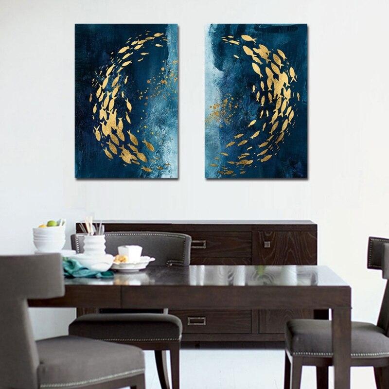 Pescado cuadro decorativo de estilo chino marina de oro grupo Simple Mural para sala de estar dormitorio Framele hogar Decoración lienzo de aceite