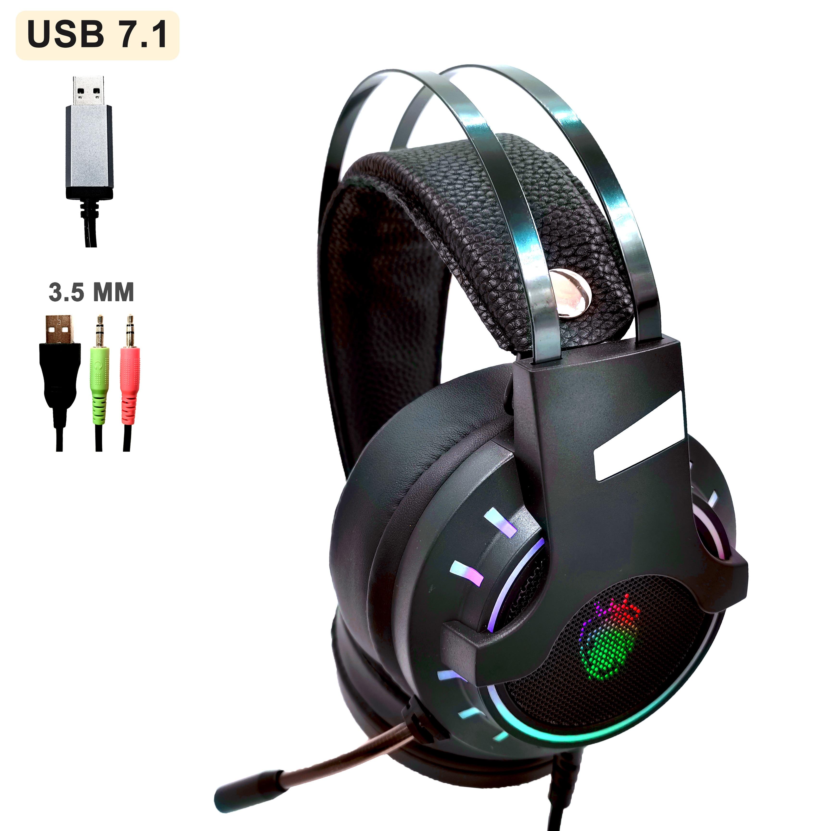 USB 7.1 و 3.5 مللي متر السلكية الموسيقى الألعاب سماعات سماعات مع ميكروفون ستيريو لعبة سماعات مكافحة الضوضاء باس RGB ضوء للكمبيوتر PS4