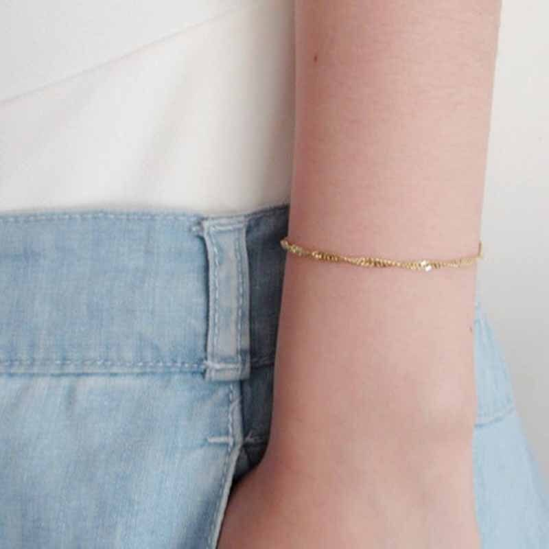 Trend Fashion Singapore Twisted Chains Bracelets for Women Retro Initial Chain Bracelet Jewelry Wholesale Bulk Pulseras Mujer
