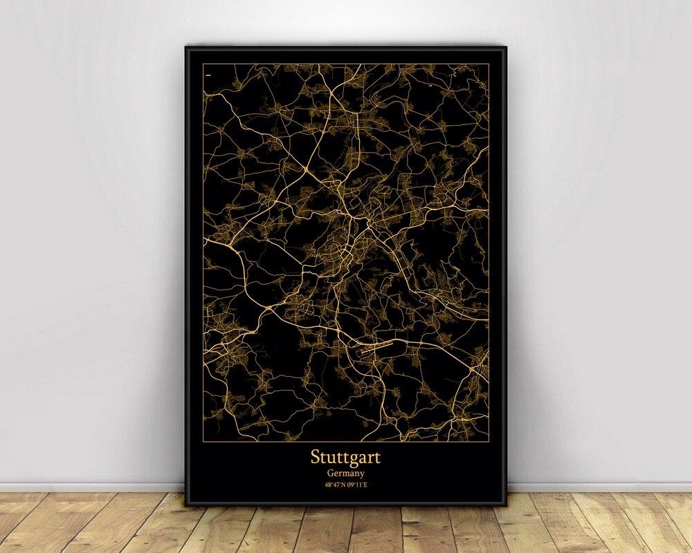 Mapas de luz de ciudad negra y dorada de Alemania, mapa de ciudades del mundo personalizado, carteles impresiones en lienzo, arte de pared de estilo nórdico, decoración del hogar