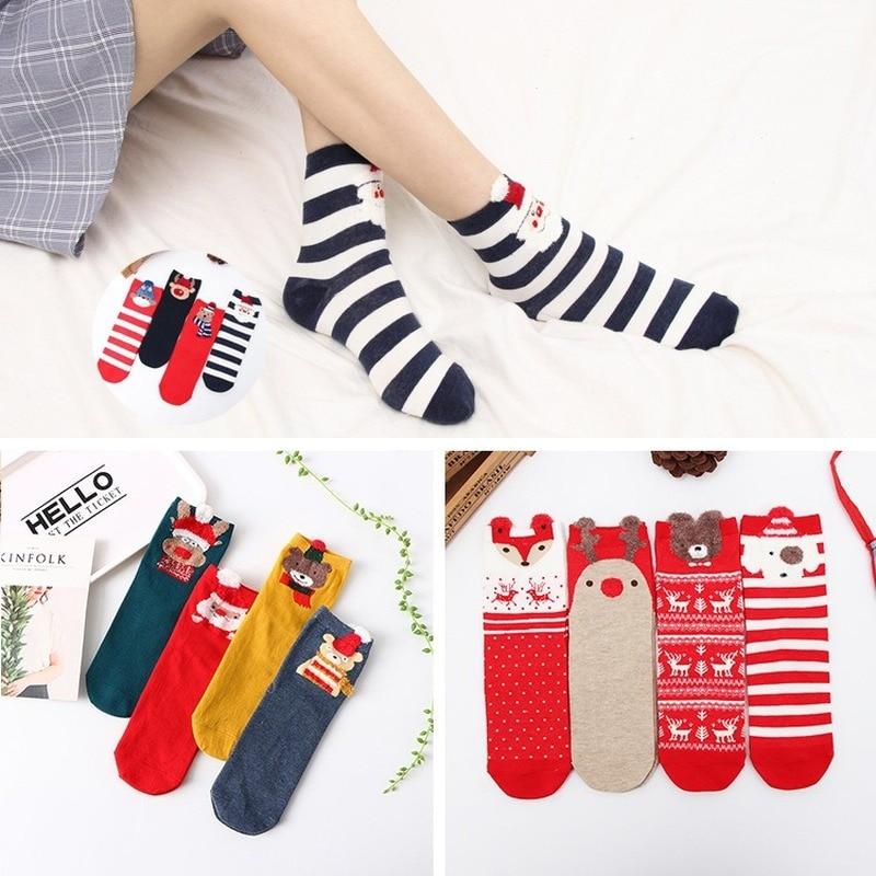 4 пары хлопковых женских мультяшных поздравительных весенних милых полосатых носков с оленями трехмерные уши рождественские красные корот...