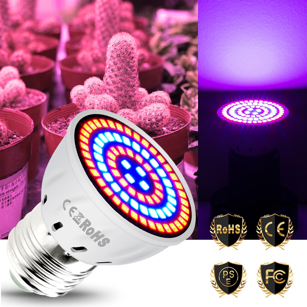 E27 Led Luz de cultivo de espectro completo GU10 Fito lámparas MR16 bombillas Led plántulas 48 60 80leds B22 lámpara de cultivo de plantas para invernadero E14