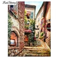 Peintures en diamant en bricolage   Rues en promenade  ville romantique  paysage europeen  broderie en diamant  point de croix  decoration de maison  FS7222