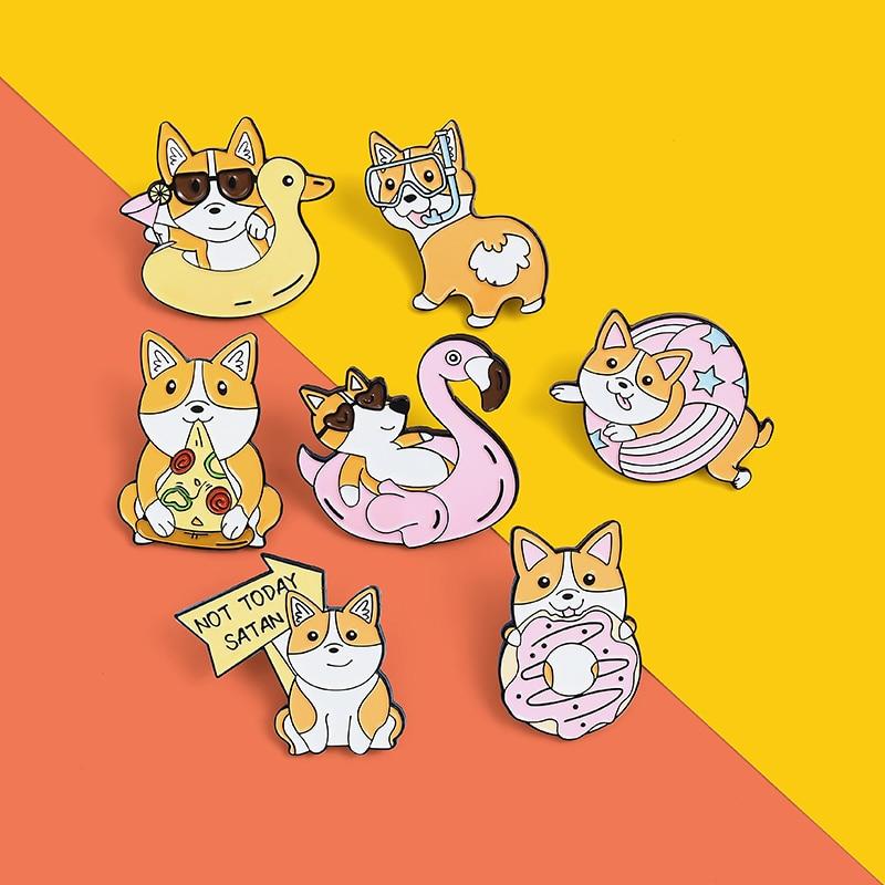 Hoy no Satanás esmalte Pin de buceo broche de Pin de solapa Pizza de dibujos animados Donuts Corgi Vacaciones de playa perro insignia regalo de la joyería de los niños