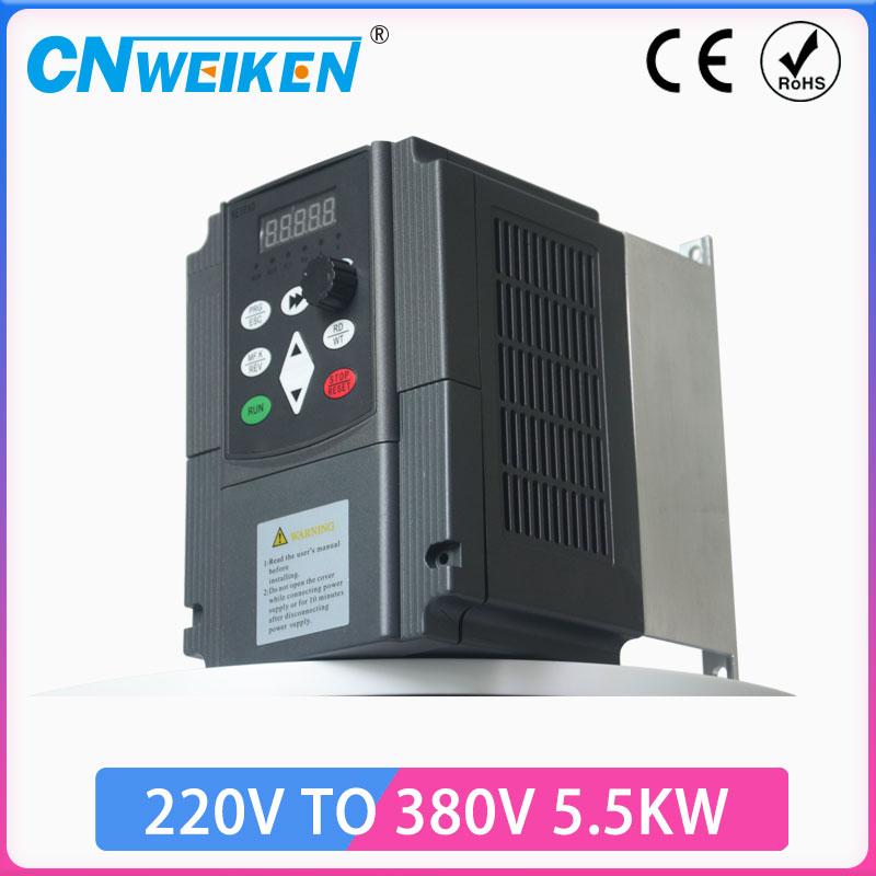 محول 5.5KW 220 إلى 380 خارج مرحلة واحدة 220 فولت المنزلية الكهربائية المدخلات ثلاث مراحل 380 فولت الإخراج