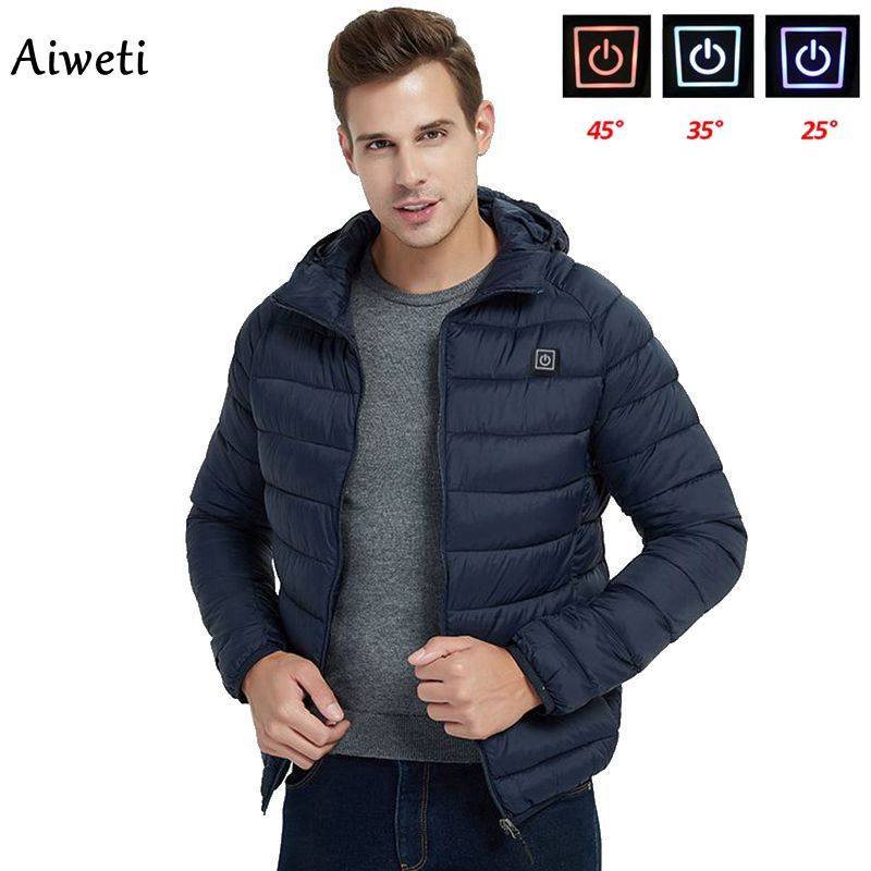 2020 Men Warm Jackets USB Heating Parkas Coat  Smart Thermostat Cap can be removed Hooded Heated Clo
