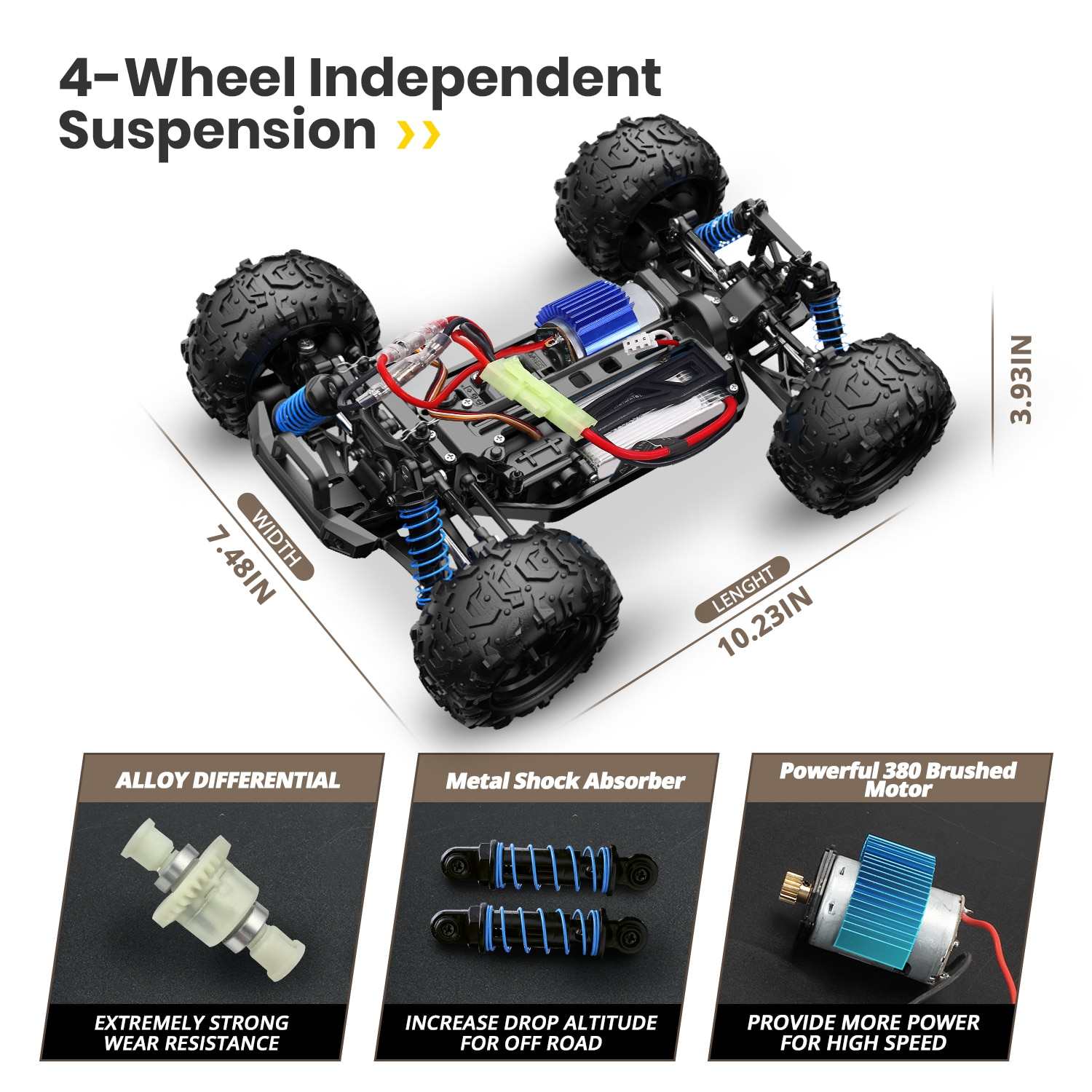 DEERC RC Cars 9310 High Speed Remote Control Car for Adults Kids 30+MPH, 1:18 Scales 4WD Off Road RC Monster Truck,Fast 2.4GHz A enlarge