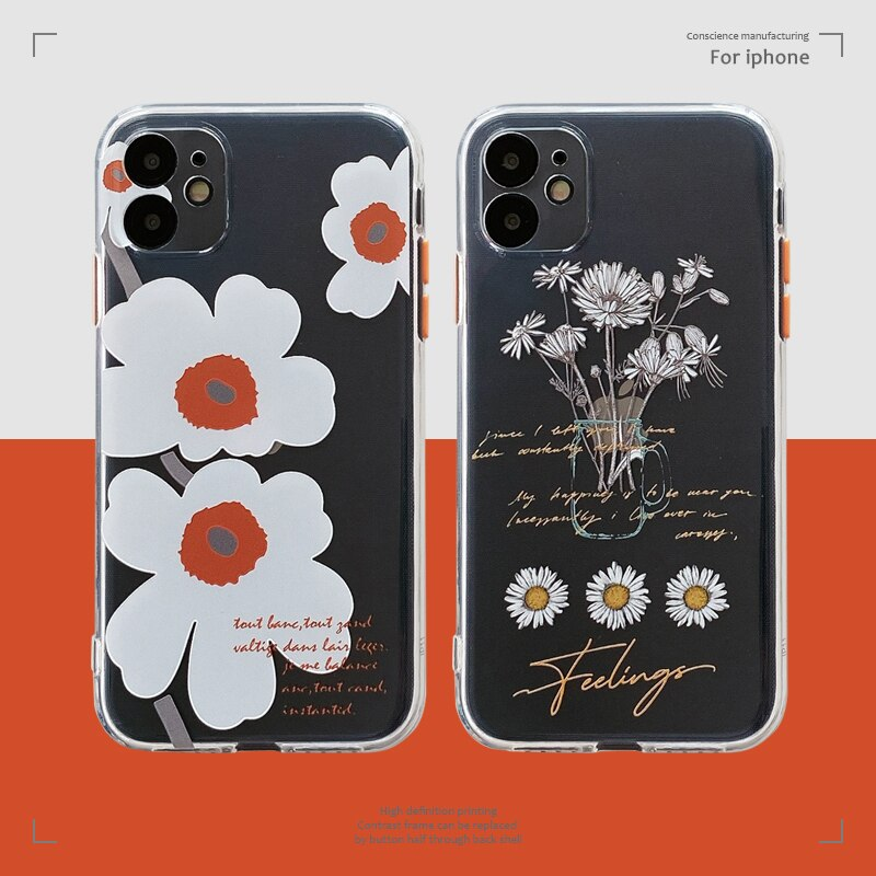 Bonito daisy pintura telefone caso para iphone 11 pro max 7 8 plus x xr xs max se 2 capa traseira moda botão grosso dos desenhos animados macio capa