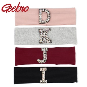 Geebro Woman AB Crystal Rhinestone Letter Cotton Ribbed Headband Headwear Ladies Stretch Hairband Wide Turban Hair Accessories