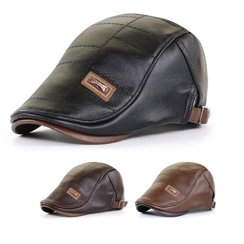 Men Beret Hat Leather Flat Cap Warm Autumn Winter Male Adjustable High Quality Gatsby Mens Retro Ber