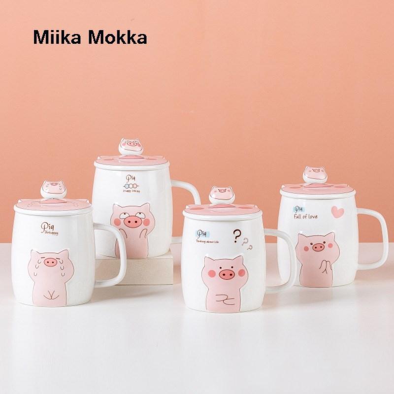 500 مللي السيراميك لطيف خنزير القدح مع ملعقة بغطاء القهوة القدح كوب الشاي باللبن مع قشة أكواب الشرب المياه بهلوان الإبداعية هدية درينكوير