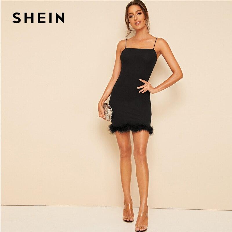SHEIN черное облегающее мини платье комбинация с искусственным мехом, женские осенние однотонные облегающие вечерние платья-карандаш на тонких бретельках