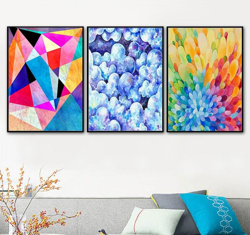 Coloridos bloques de colores geométricos pintura abstracta lienzo pintura para café pasillo pared arte impresión póster imágenes decoración del hogar