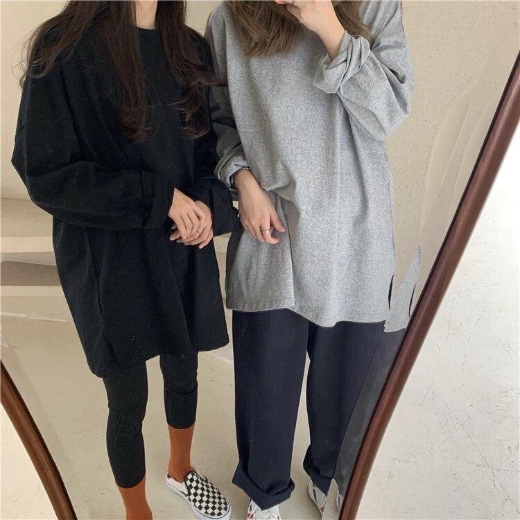 Nuevo 2020 mujeres de primavera camisetas sueltas sólido largo manga Casual coreano estilo minimalista Triko Tops Tees T601