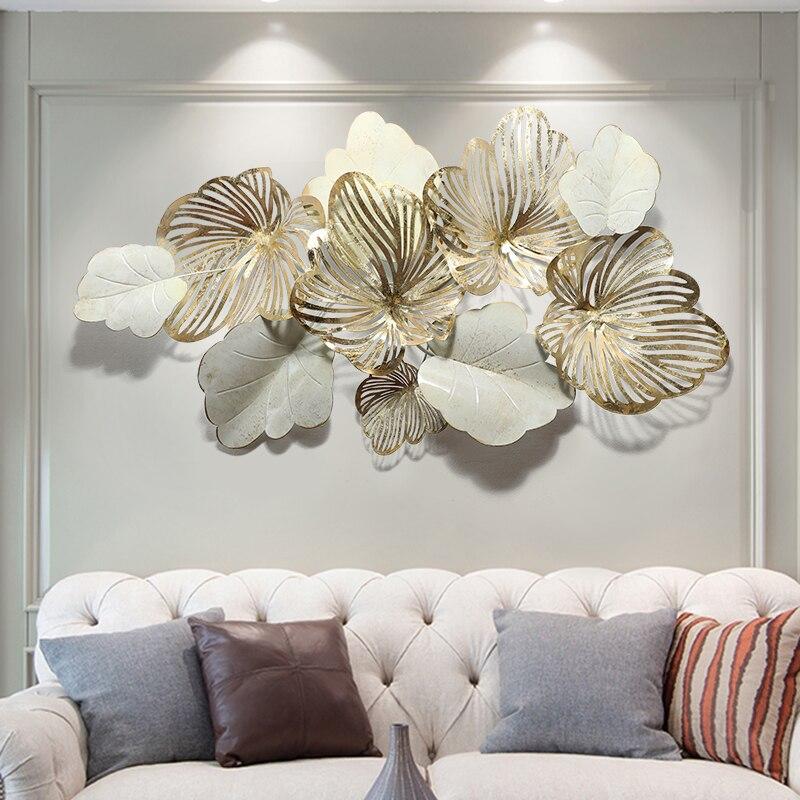 Americano sala de estar sofá luz luxo metal fundo parede ferro decoração da parede criativo pingente casa folha ouro decoração do quarto