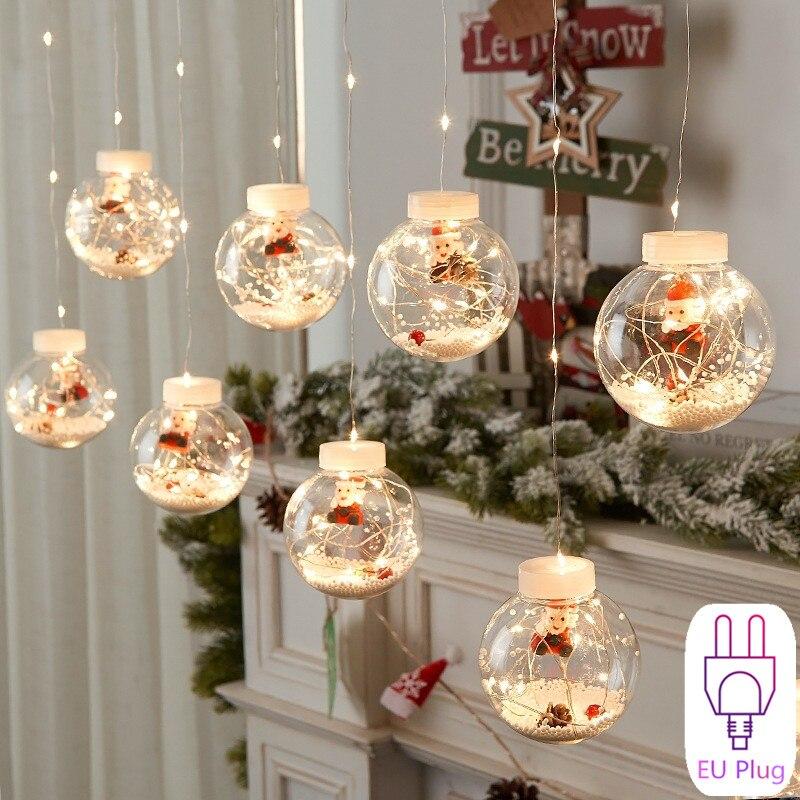 Christmas Lights Decor Ball Garland Curtain Led Fairy Decorations for Home 2021 Navidad New Year 2022