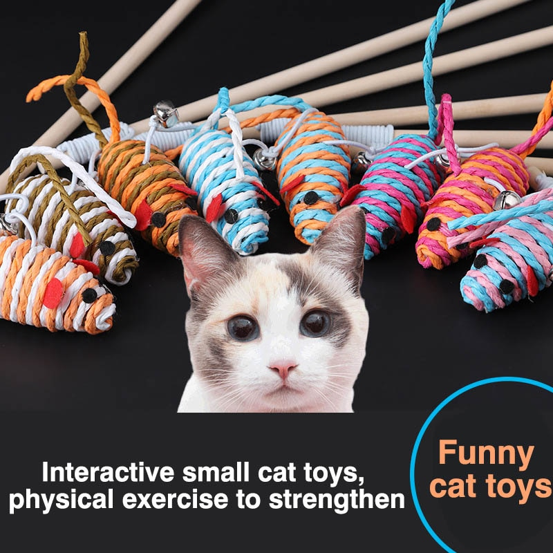 Juguete de ingenio para gatos con cascabel Mouse/pluma varita Stick gatito jugar juguetes interactivos BV789