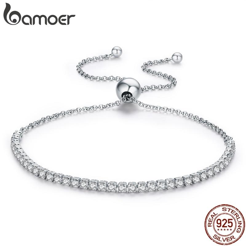 BAMOER 925 Sterling Silver Sparkling Strand Bracelet Women Link Tennis Bracelet Silver Jewelry 3 Colors SCB029
