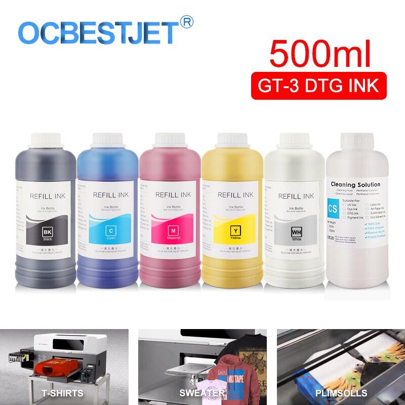 500 ML/SET GT-3 DTG textiles botella de tinta para hermano GT-341 GT-361 GT-381 GT3 serie directa a la prenda impresora DTG de tinta