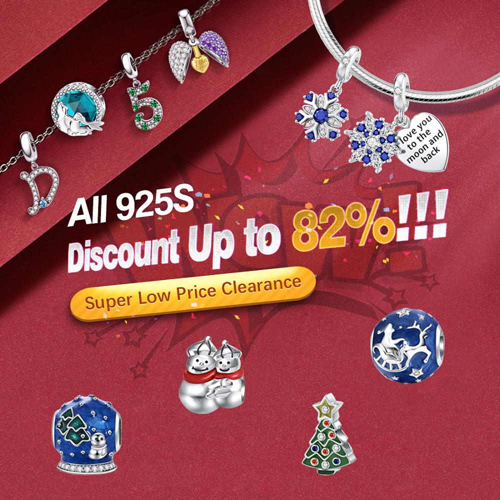 Clearance Ultra Low Price Jiayiqi Christmas Series 925 Sterling Silver Beads Fit Women Pandora Charm