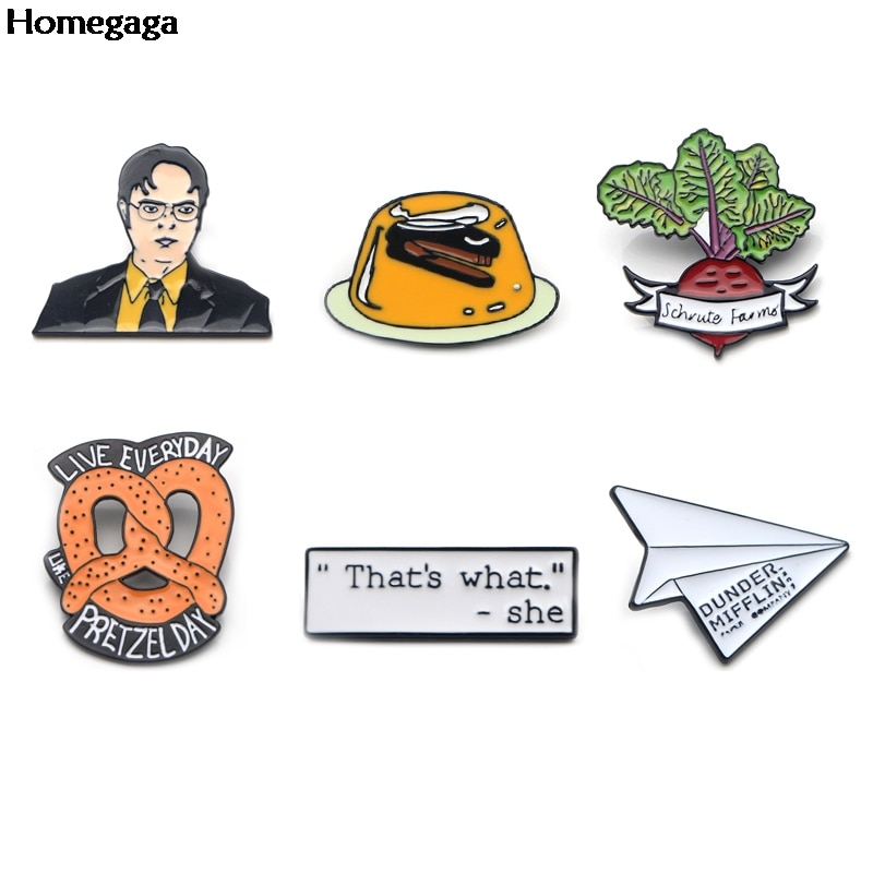 Homegaga The office tv show letters Zinc tie Pins backpack clothes Brooches for men women Bags Decor