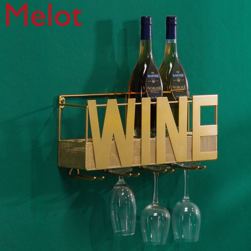 European-Style Wall-Mounted Iron Wine Rack Modern Simple Home Creative Goblet Wine Cabinet Personality Trend Hanging Rack