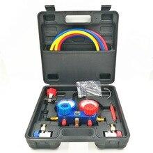 Climatiseur de voiture R134A jauges de collecteur manomètre réfrigérant fréon + tuyaux de Tube fluoré tricolore + 2 coupleurs rapides pc