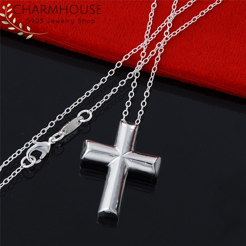 Silver 925 Necklaces For Women Cross Pendant & Necklace Link Chain Collier Choker Fashion Jewelry Accessories Party Gifts Bijoux gnx0495 2015 new horizontal sideways cross women pendant necklace fashion 925 sterling silver necklaces for women