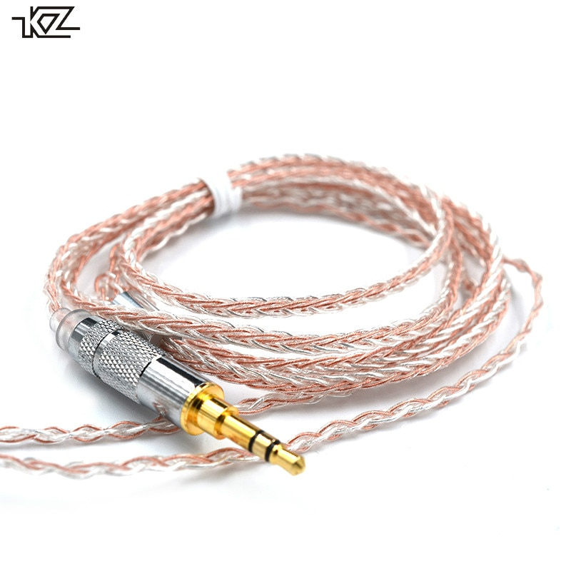 Conector de prata mista kz 3.5mm, conector 2 pinos/mmcx 8 núcleos para uso em se846 kz zs4/zs5/zs6/zsa/ed16 zsn/zst/es4/zs10/as10/ba10