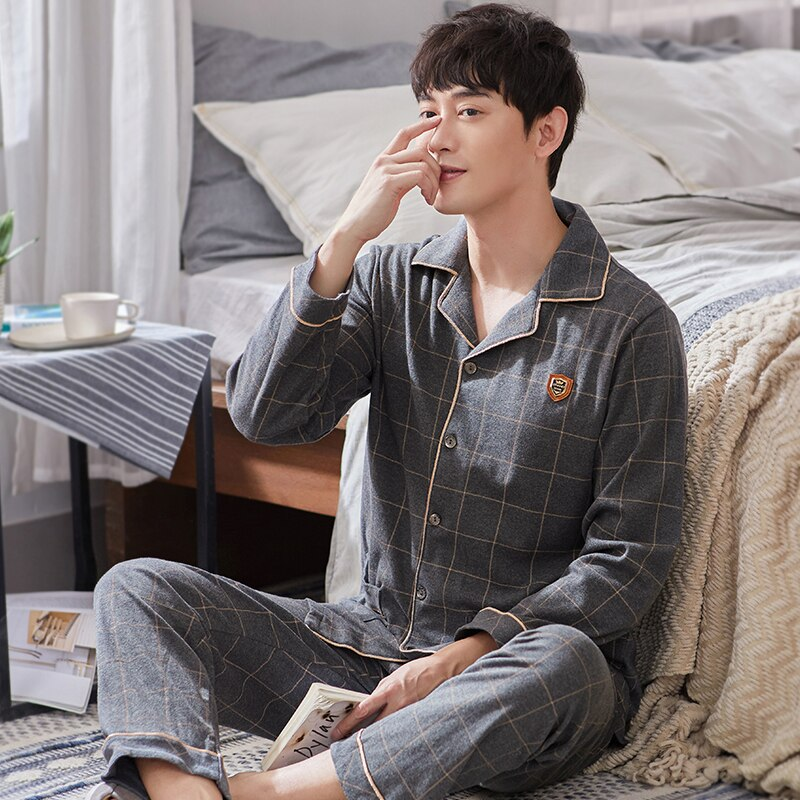 Зима Хлопок Пижамы Комплект для Мужчин Lounge Warm Sleepwear 2021 Algodon Pijamas Hombre Invierno Pj Homewear Blue Plaid Pajama Homme
