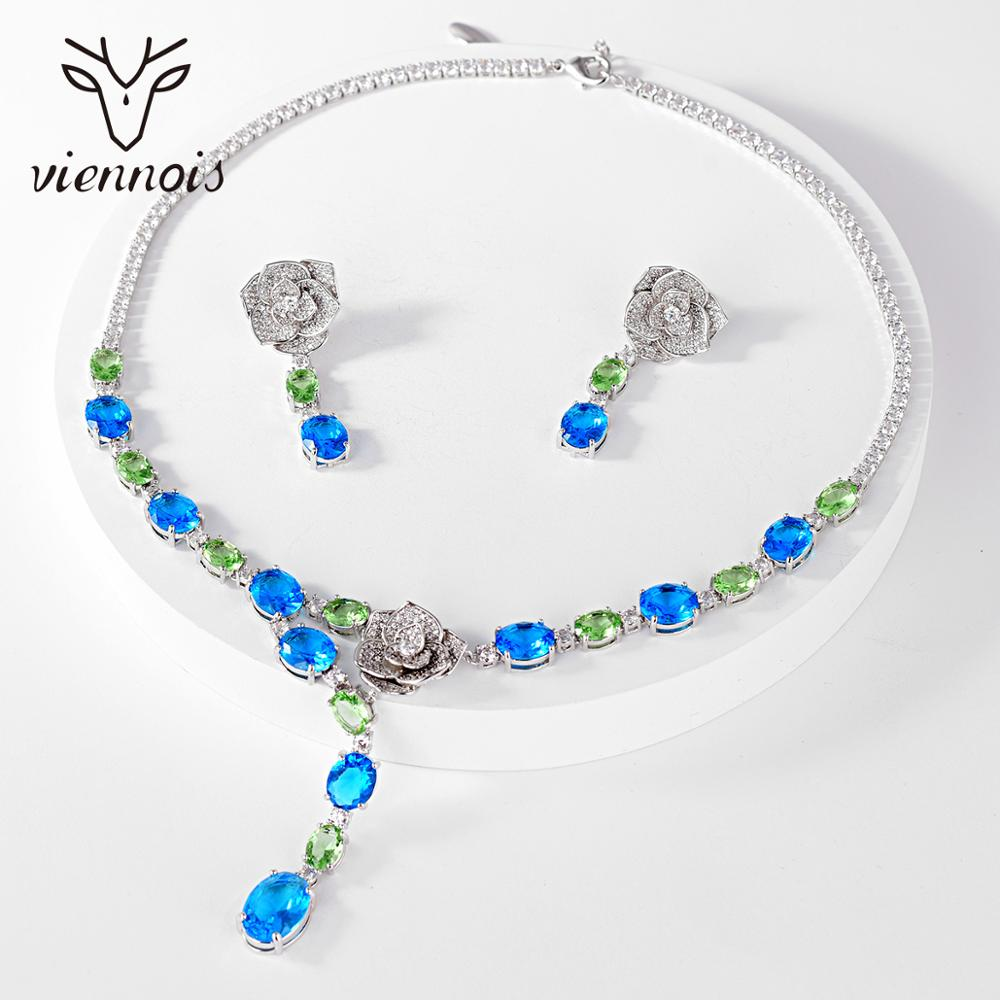 Viennois Luxury Jewelry Set For Women Mix Color Rhinestone Pendant Necklace and Earrings Jewelry Set Bridal jewelry set