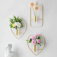 metal wall decoration pendant flower vase creative wrought iron pendant modern simple nordic home decoration wall hanging vase