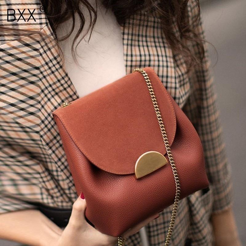 [BXX] 2021 Summer Brand Designer Shoulder Bags For Women Fashion PU Leather Handbags and Purse Vintage Messenger Bag OE488