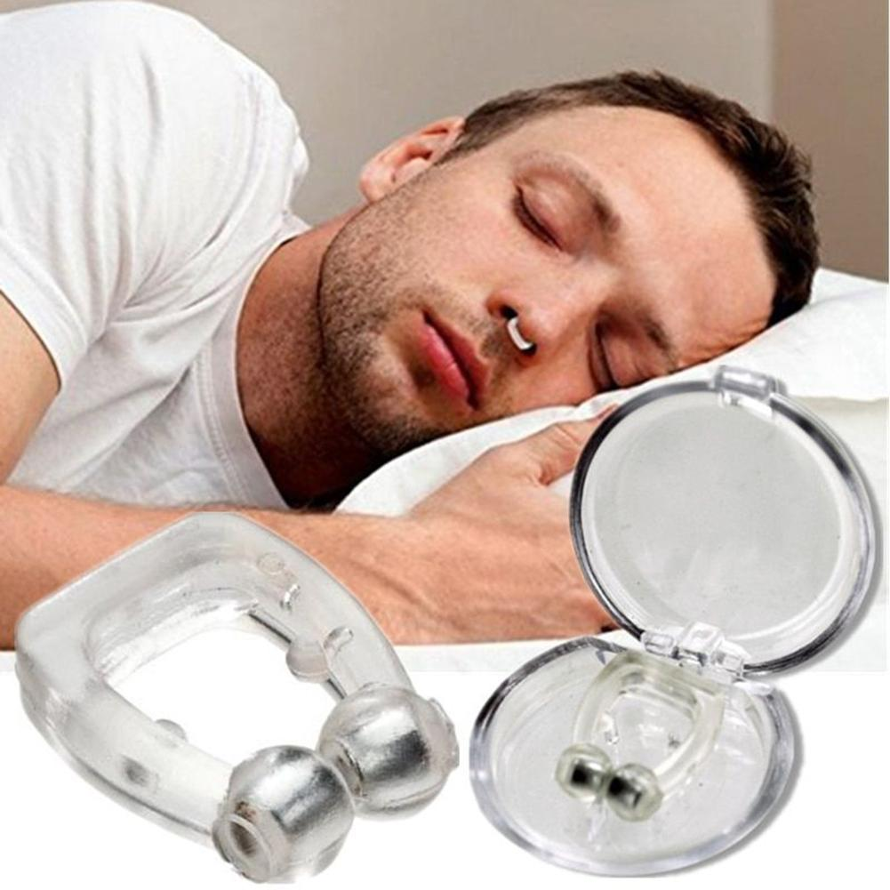 4pcs Silicone Magnetic Anti Snore Stop Snoring Nose Clip Sleep Tray Sleeping Aid Breathing Apnea Guard Night Device with Case