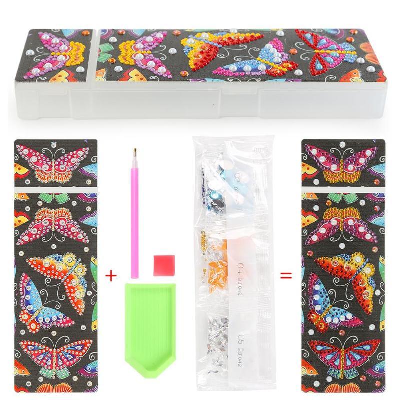 5D DIY especial en forma de diamante pintura lápiz estuche organizador estudiantes lápiz caja bordado con diamantes de imitación organizador caso