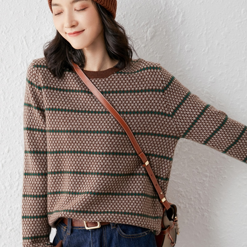 woman winter 100% Cashmere sweaters knitted Pullovers jumper Warm Female O-neck blouse blue long sleeve clothing enlarge