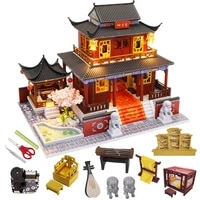diy dollhouse miniature building kit roombox chinese style mini house toys childrens birthday gifts wooden doll house furniture