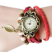 String Beads Decoration Women Quartz Wristwatches Retro Leather Winding Bracelet Leaf Pendant Watch