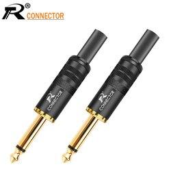 20 pces jack 6.35 microfone plug 6.35mm mono macho plug montagem fio conector lisamente chapeamento alto-falante de áudio com mola