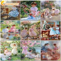 chenistory 60x75cm painting by numbers on canvas with frame girls landscape pictures by numbers diy for home decoration gift