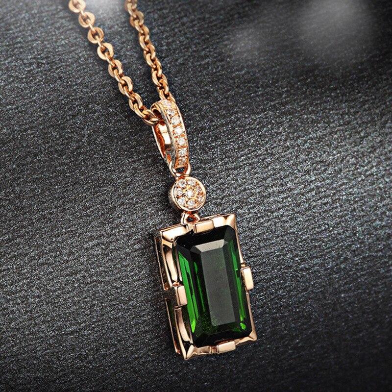 Y accesorios de moda americana chapado 18 k Rosa Incrustaciones de oro Esmeralda natural turmalina colgante collar