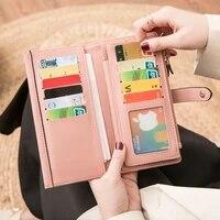 long wallet hasp card holders mujer womens simple retro fashion 3 folds japan south korea zipper clutch high quality leather pu