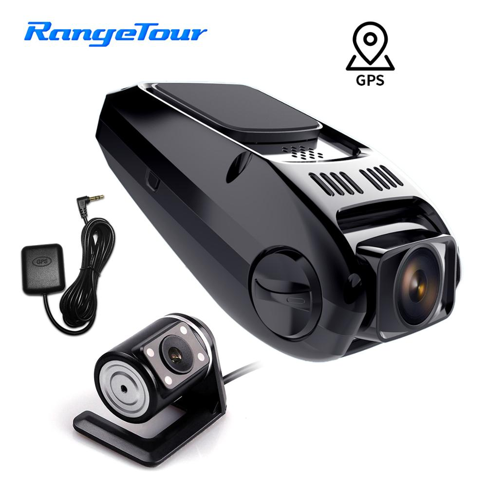 Car DVR B40D Daul Lens Novatek Dash Cam Front 1080P Rear 480P Support GPS Logger to Check the Speed and Track on PC Player