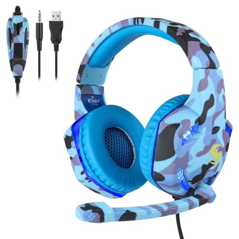 Auriculares universales K17 de 3,5mm, auriculares con micrófono y luces LED para videojuegos, auriculares para PC, portátil, PS4 Pro, Xbox One S 360