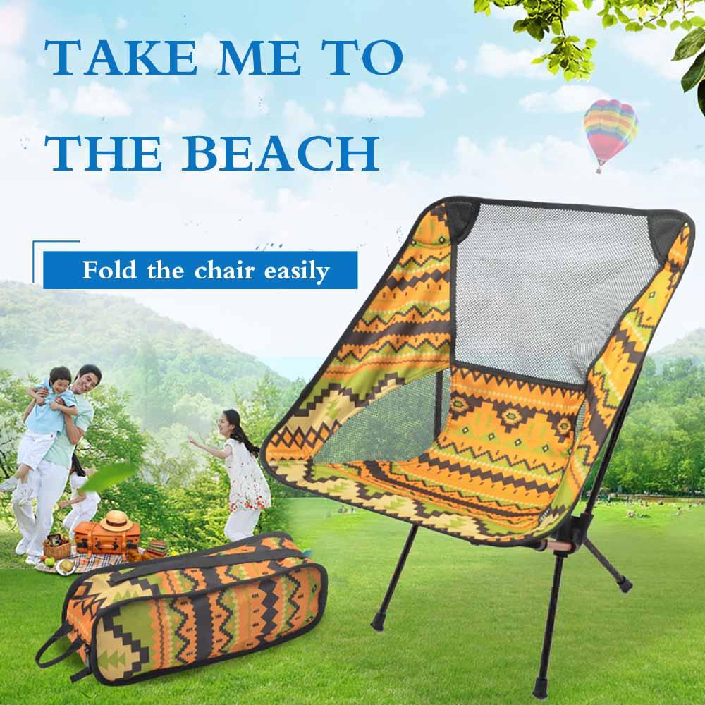 Muebles de exterior Silla de pesca ligera plegable de aluminio de tela de Picnic fácil de llevar Camping Silla de viaje jardín portátil
