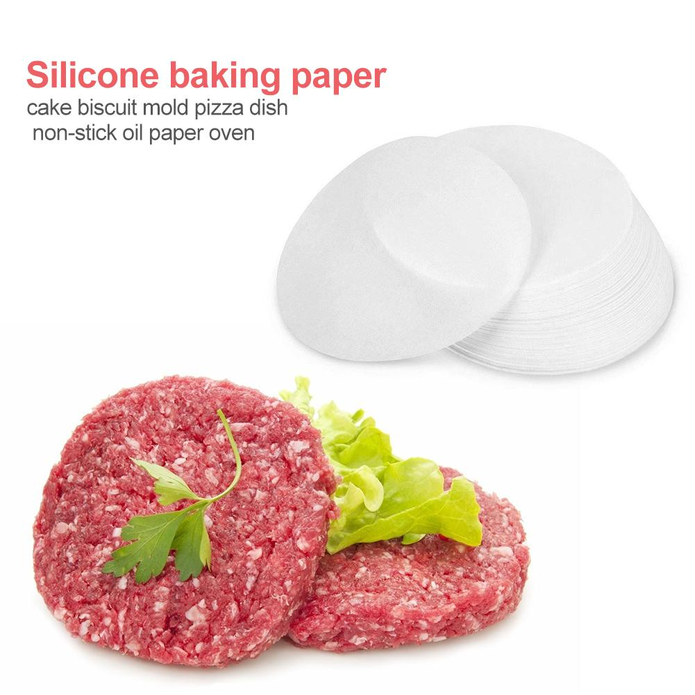 500Pcs Round Baking Paper Silicone Oil Paper Pizza BBQ Patty Oven Hamburger Paper Cake Non-Stick Baking Tool Kitchen Accessories 500pcs round 1000pcs square steamed bun papers non stick household snack bread cake steamer oil paper pads