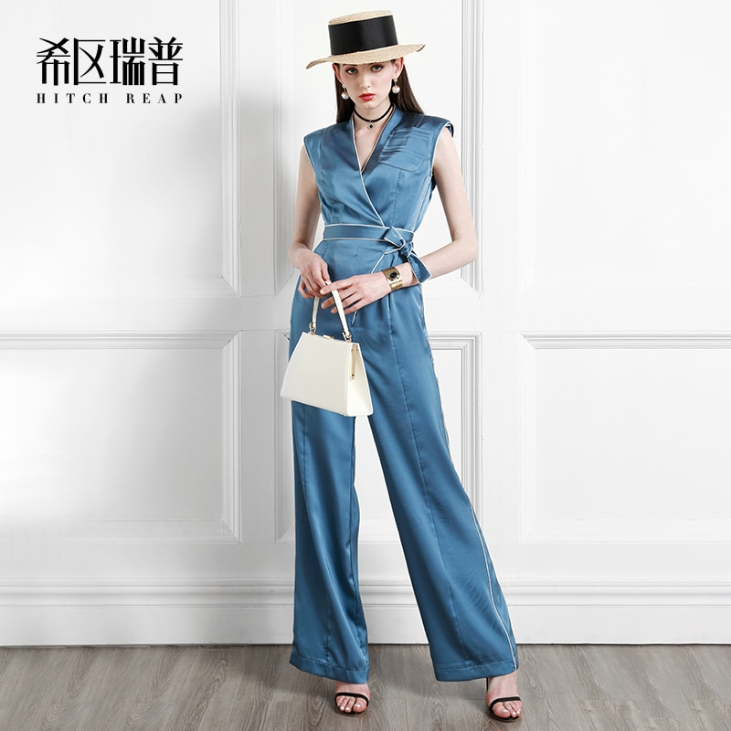 Europe And The United States Fashion Loose Thin Wide Leg Pants 2021 Summer New High-End Vacation One-Piece Pants For Women
