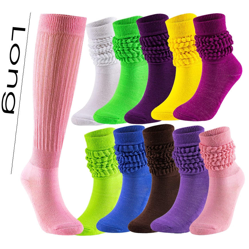 5 Pack Women's Knee High Sleep Cotton Extra Long And Heavy Slouch Socks Wear At Any Length
