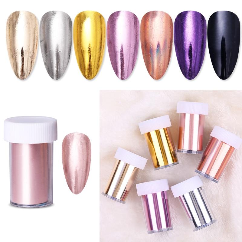 1 Roll Rose Gold Nail Foils Sticker sparkly Sky Glitter Nail Art Transfer Stickers Paper DIY Tips De