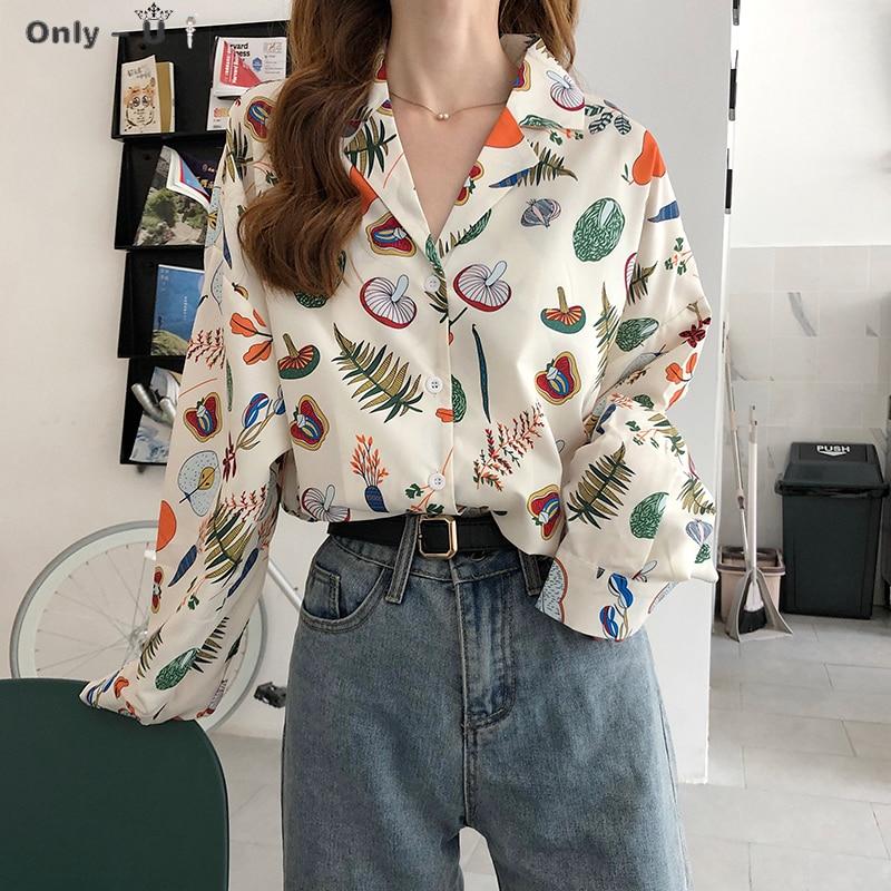 Women Summer Shirts Kawaii Lovely Retro V-neck Retro Printed Loose Shirt Female Sweet Punk Tunic For Girl Women's Cute Top
